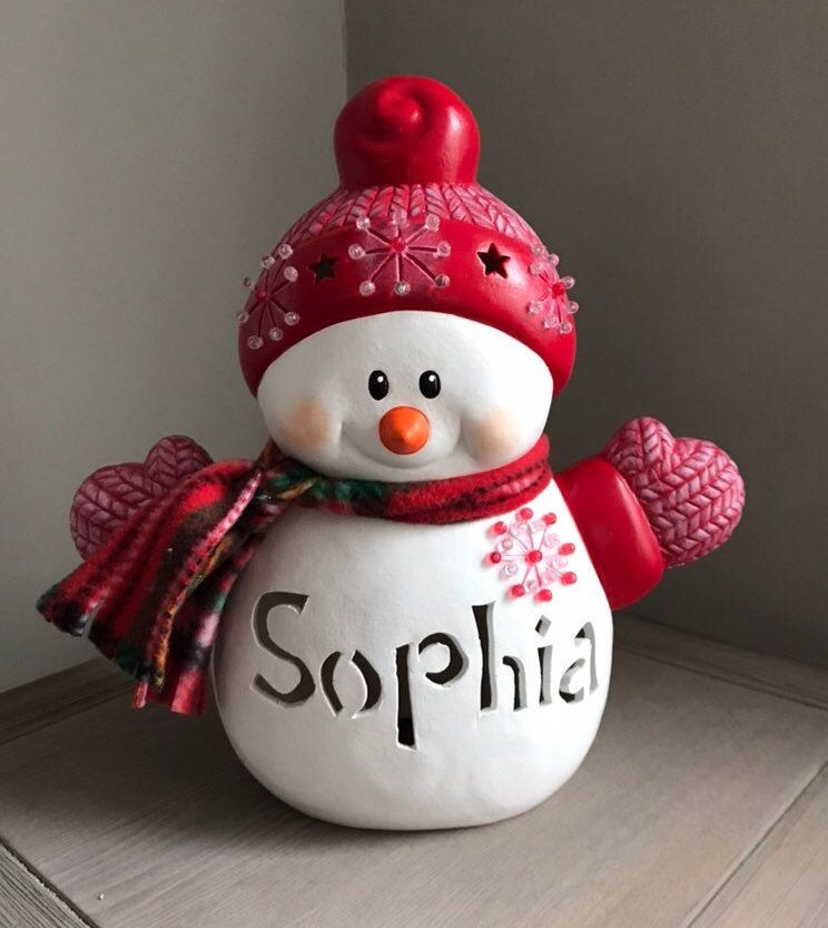 Personalized Ceramic Snowman Personalized Christmas Etsy Snowman Decorations Hand Painted Ceramics Christmas Clay