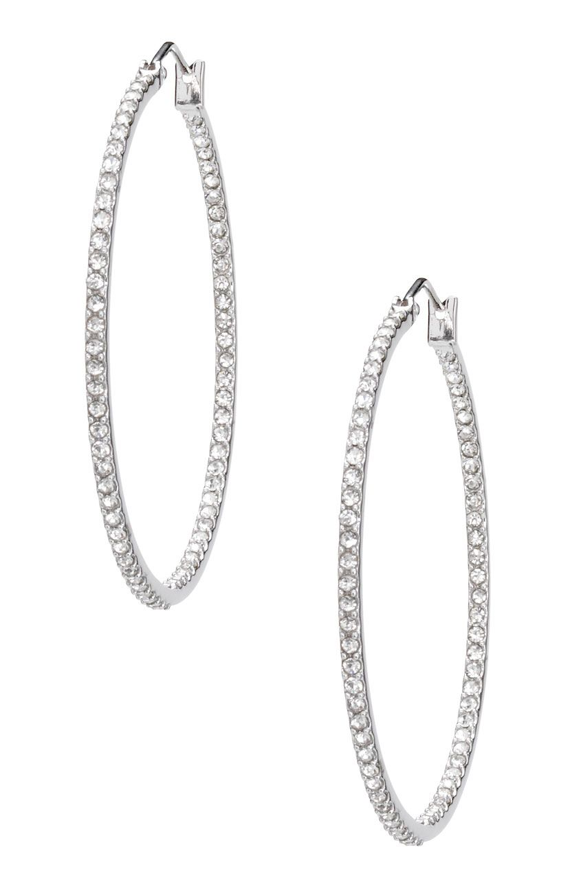 Pave Stone Accent Large Silver Hoop Earrings  Silver Adelaide Earrings