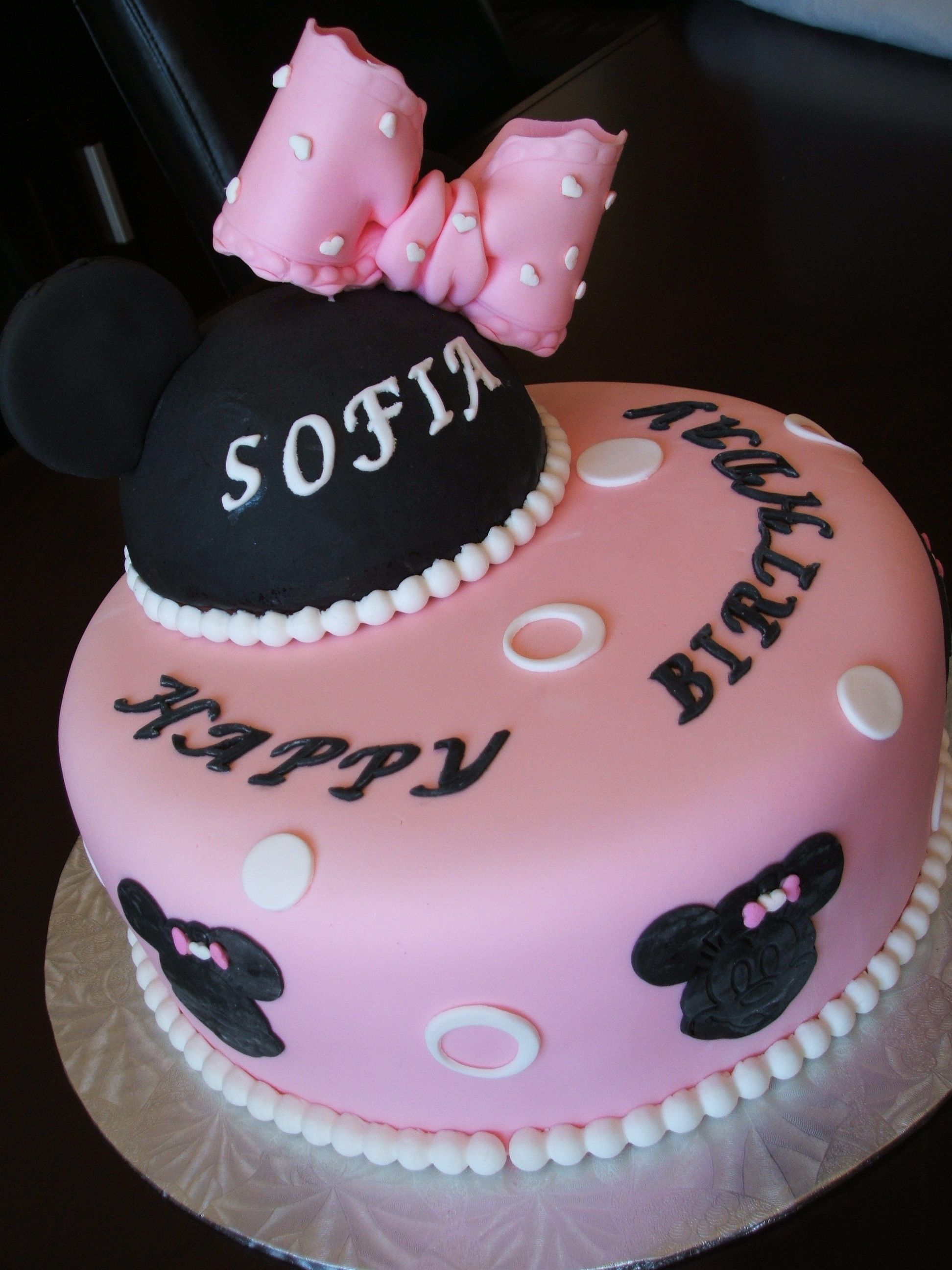 Minnie Mouse Custom Creative Girl S One Tier Pink And Black Fondant Girl S Birthday Cake Www Facebook Com Dgfcreations Birthday Cake For Him Fondant Girl Cake