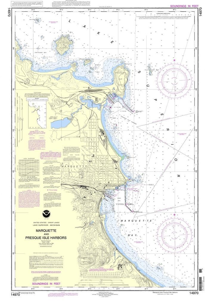 NOAA Nautical Chart 14970 Marquette and Presque Isle Harbors
