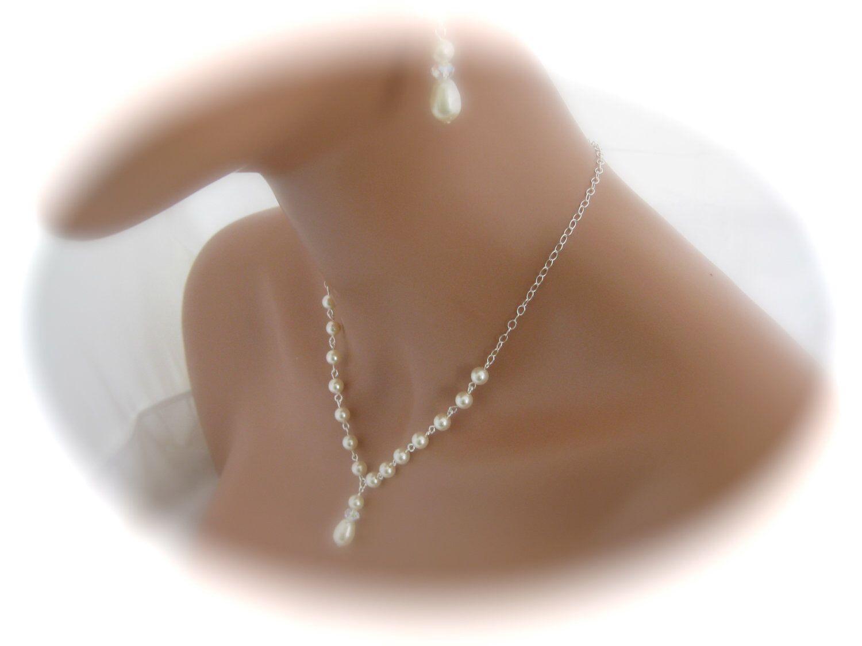 Wedding Jewelry Set Ivory Pearl Necklace Bridal Earrings Swarovski Bridal Pearl Jewelry Set by Clairesparklesbridal on Etsy https://www.etsy.com/listing/84283454/wedding-jewelry-set-ivory-pearl-necklace