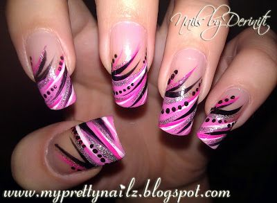 My Pretty Nailz: Diva Tips - Nail Art Paint French Tip Design Manicure and Video Tutorial