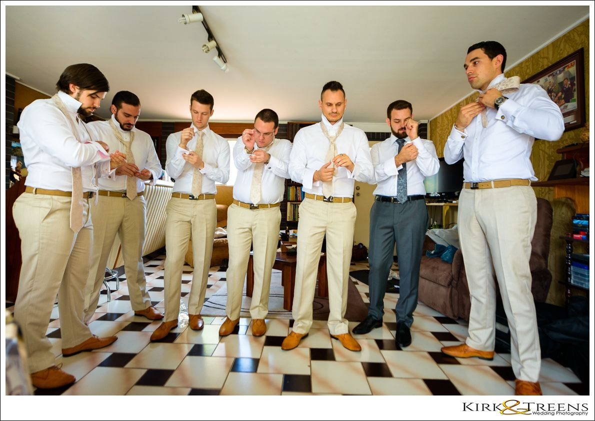 groom and friends getting ready for flaxton gardens wedding  | Kirk & Treens Wedding Photography | Flaxton Gardens Wedding