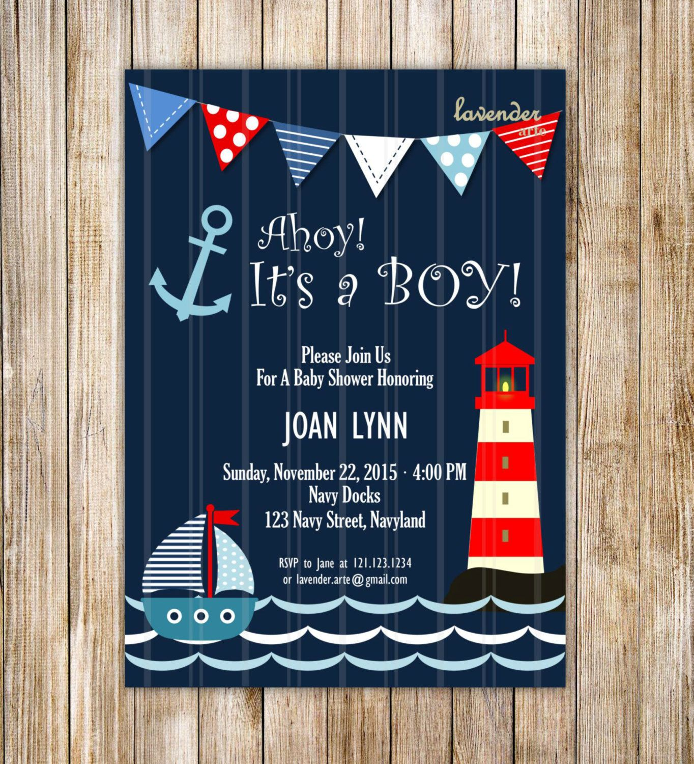 Navy Nautical Baby Shower Invitation Ahoy It s A by LavenderArte