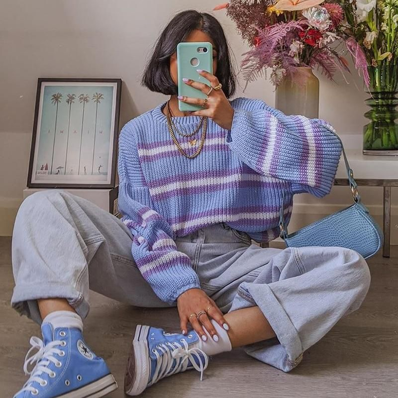 90s aesthetic style knitted sweater