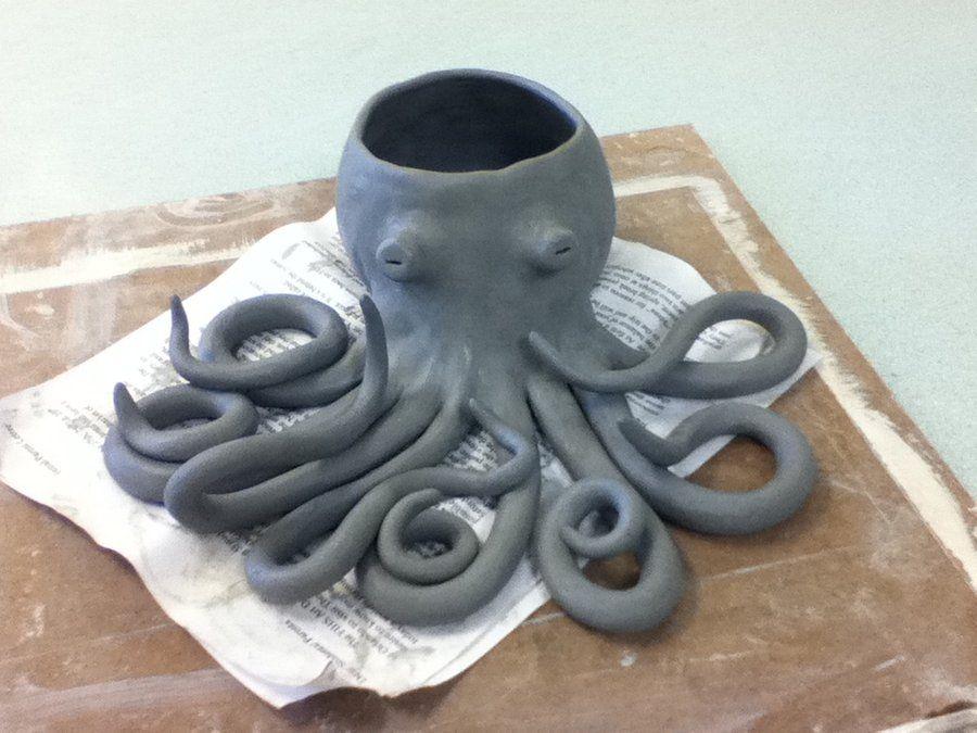 Poterie pieuvre porte piques ap ro cute coil pots for Poisson coil