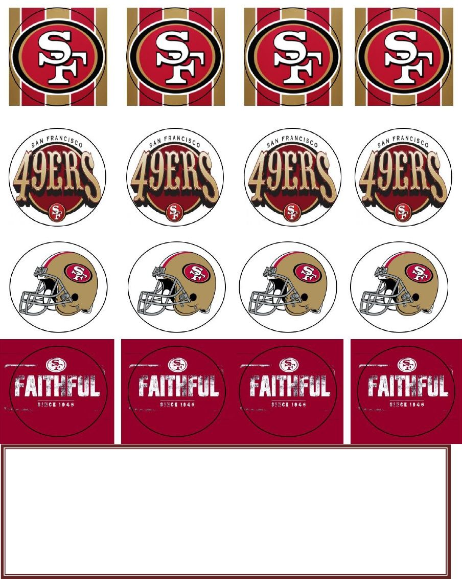 San Francisco 49ers Cupcake Topper Free Printables Toppers Holders Birthday