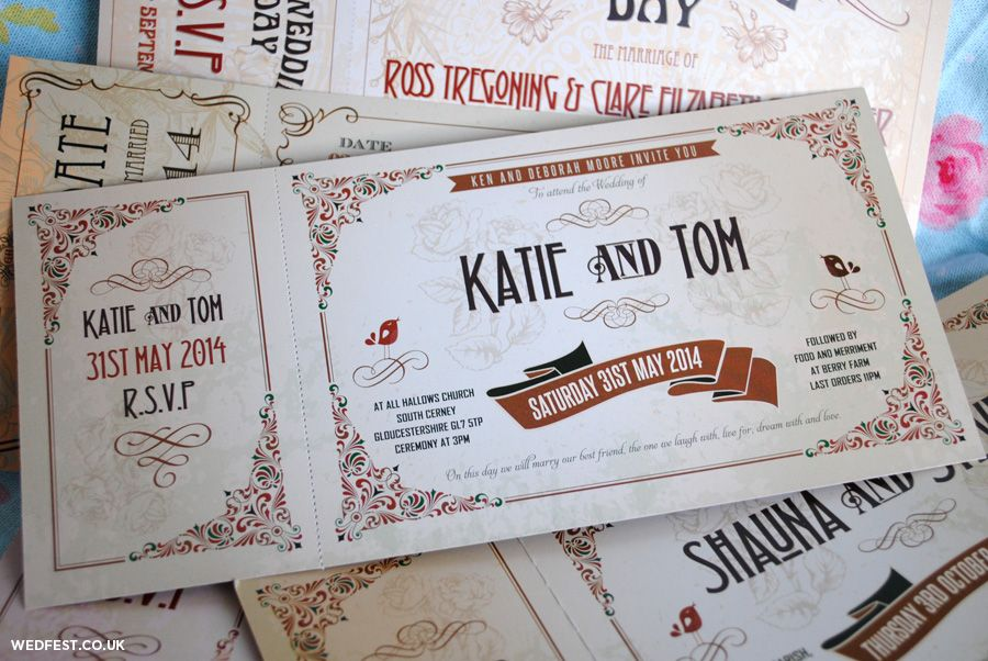 movie ticket stub wedding invitation%0A Vintage Ticket Wedding Invitations by MartyMcColgan on Etsy