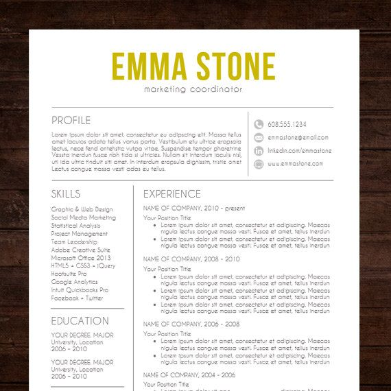 Resume  Cv Template  The Emma Resume Design In Gold  Instant