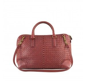 Bottega Veneta Maroon Leather Intercciato Tote Bag Maroon