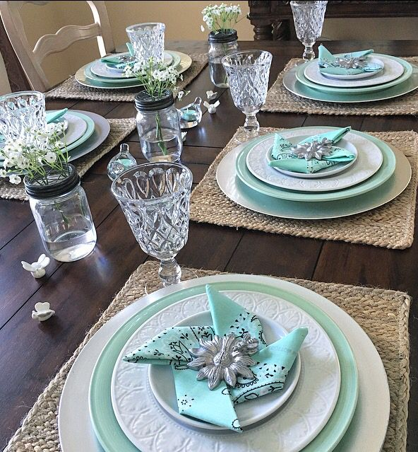 Mint Green Wedding Decoration Ideas: Mint Green,white And Silver Make A Fresh Summer Tablescape