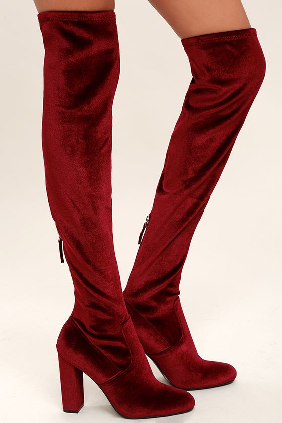 0eaefeaaffa We just might shed a tear over the beauty that is the Steve Madden Emotionv  Burgundy Velvet Over the Knee Boots! These luxe
