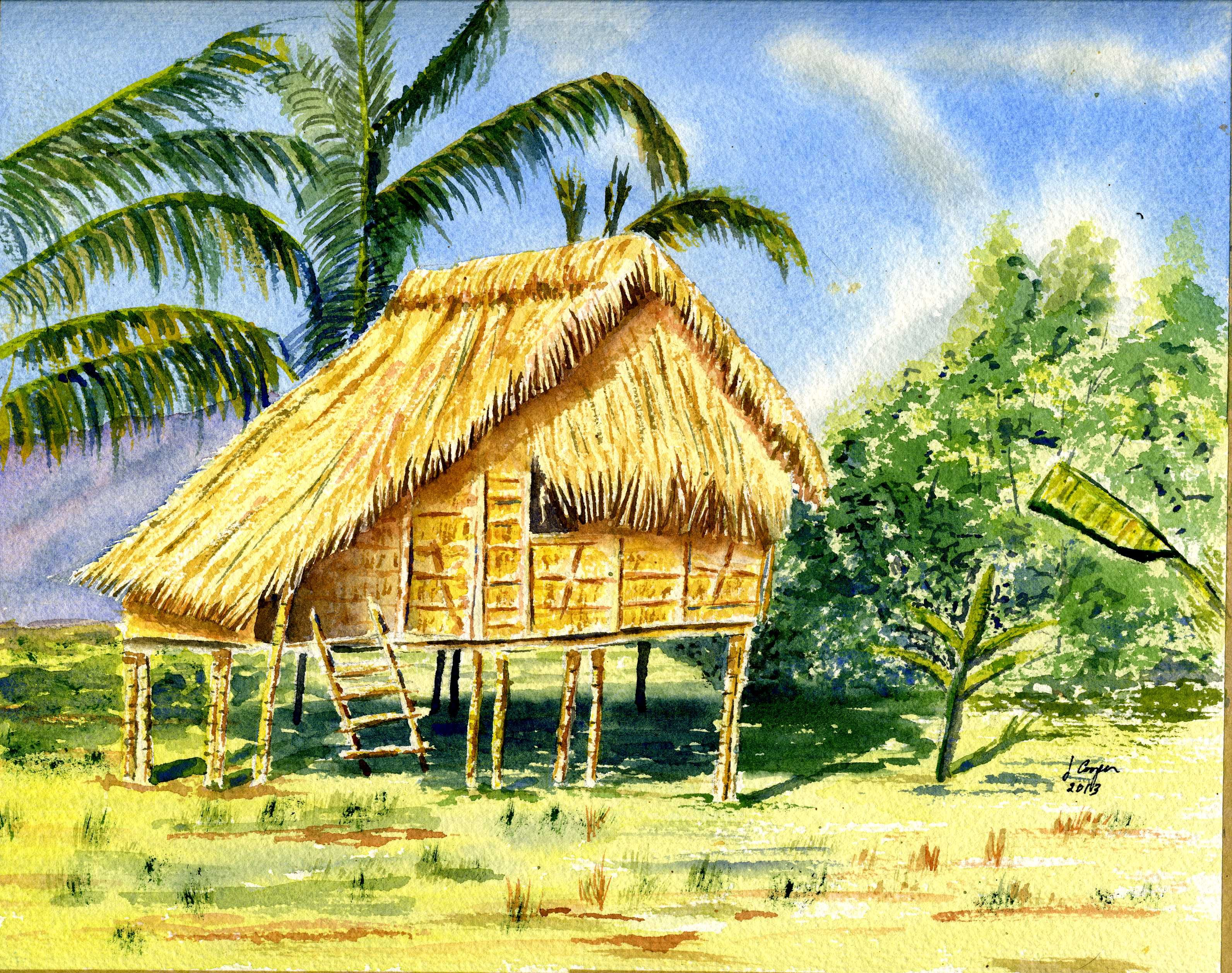 Watercolor Philippines Nipa Hut Bamboo House House Styles