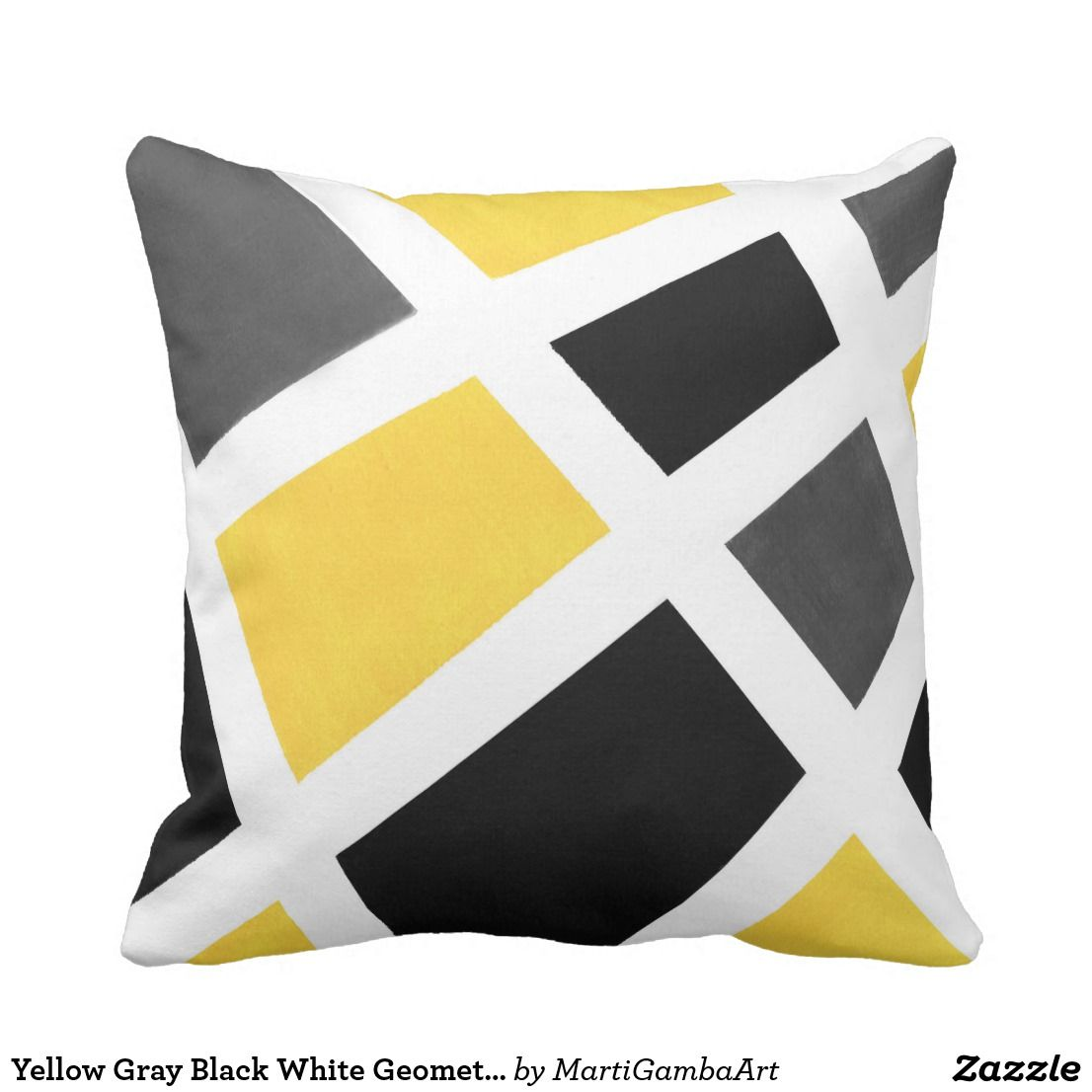 Yellow Gray Black White Geometric Throw Pillow Zazzle Com