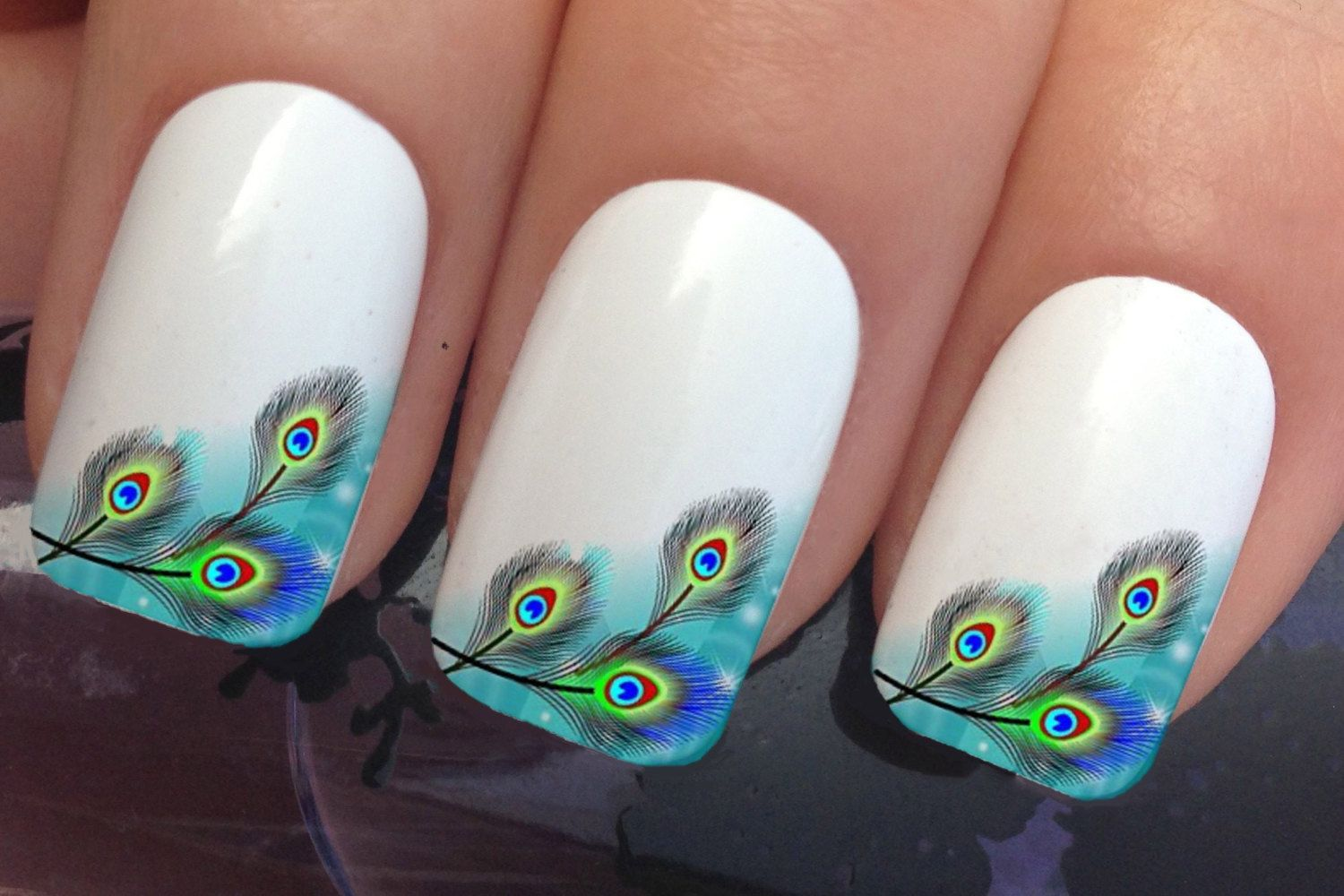 Nail Decals 382 Peacock Eye Feathers French Tip Water