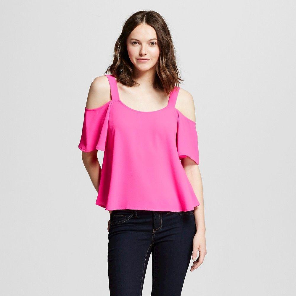 691db219b87b6d Women s Neon Cold Shoulder Top - Self Esteem (Juniors ) Hot Pink ...