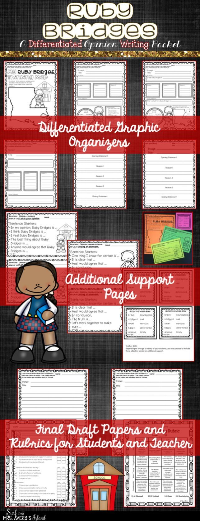 This Ruby Bridges opinion writing packet was created to meet the diverse needs of your students.  Whether you are seeking a lesson for Black History Month, or perhaps a writing lesson to teach your students how to write an opinion piece, this one is guaranteed to keep your students on the WRITE track!