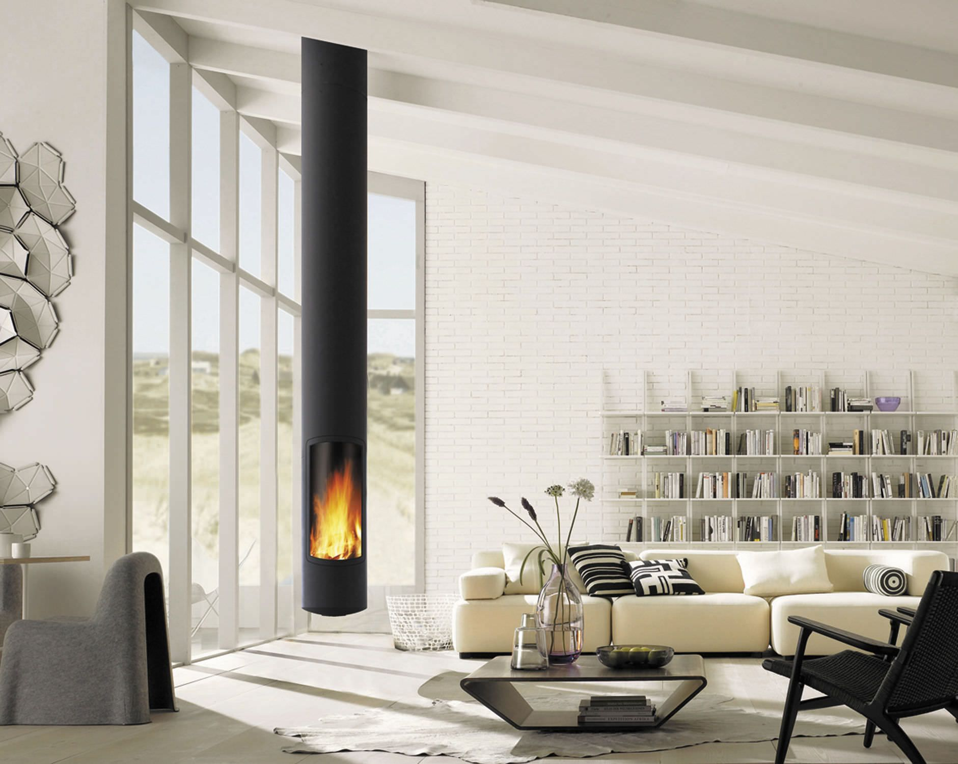 contemporary hanging fireplace central hearth closed focus burning wood product prod