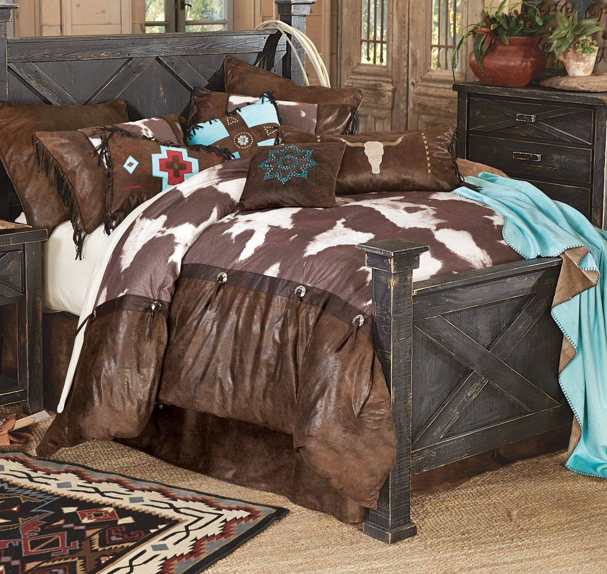 High Plains Cowhide Bed Set Queen Western Bedding Sets Bed