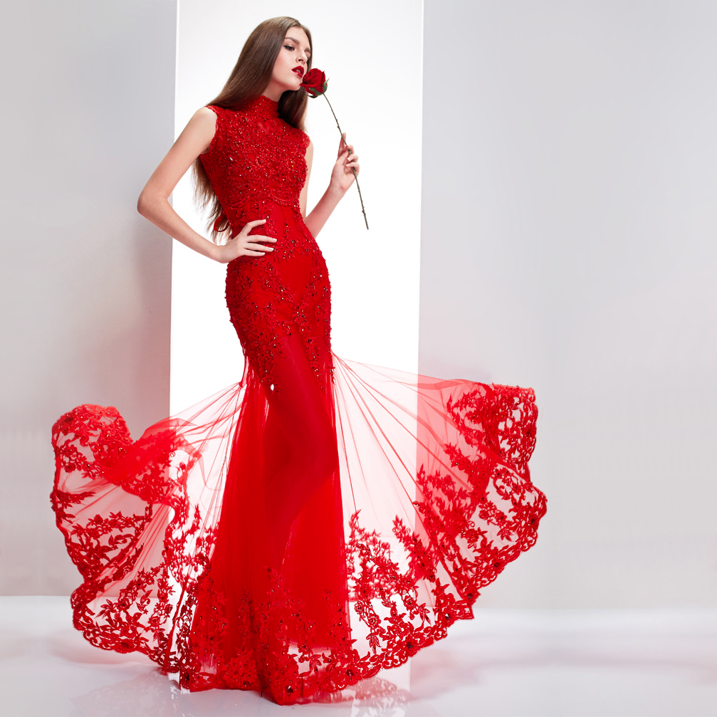 Dress up chinese - Stand Up Collar Sleeveless Floor Length Chinese Red Bridal Wedding Dress Mermaid Evening Gown 001