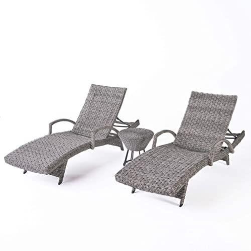 Best Seller Keira Outdoor 3 Piece Grey Wicker Armed Chaise Lounges Grey Wicker Circular Side Table online - Wouldtopshopping