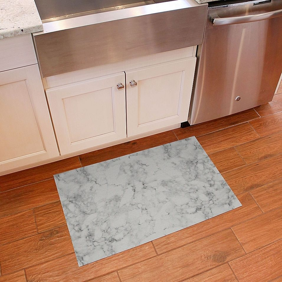Florart 24 X 36 Classic Marble Kitchen Mat In White Kitchen Marble Kitchen Mat White Kitchen Mat