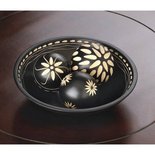 Black Decorative Balls For Bowls Beautiful Black Decorative Wood Balls With Detailed Tray