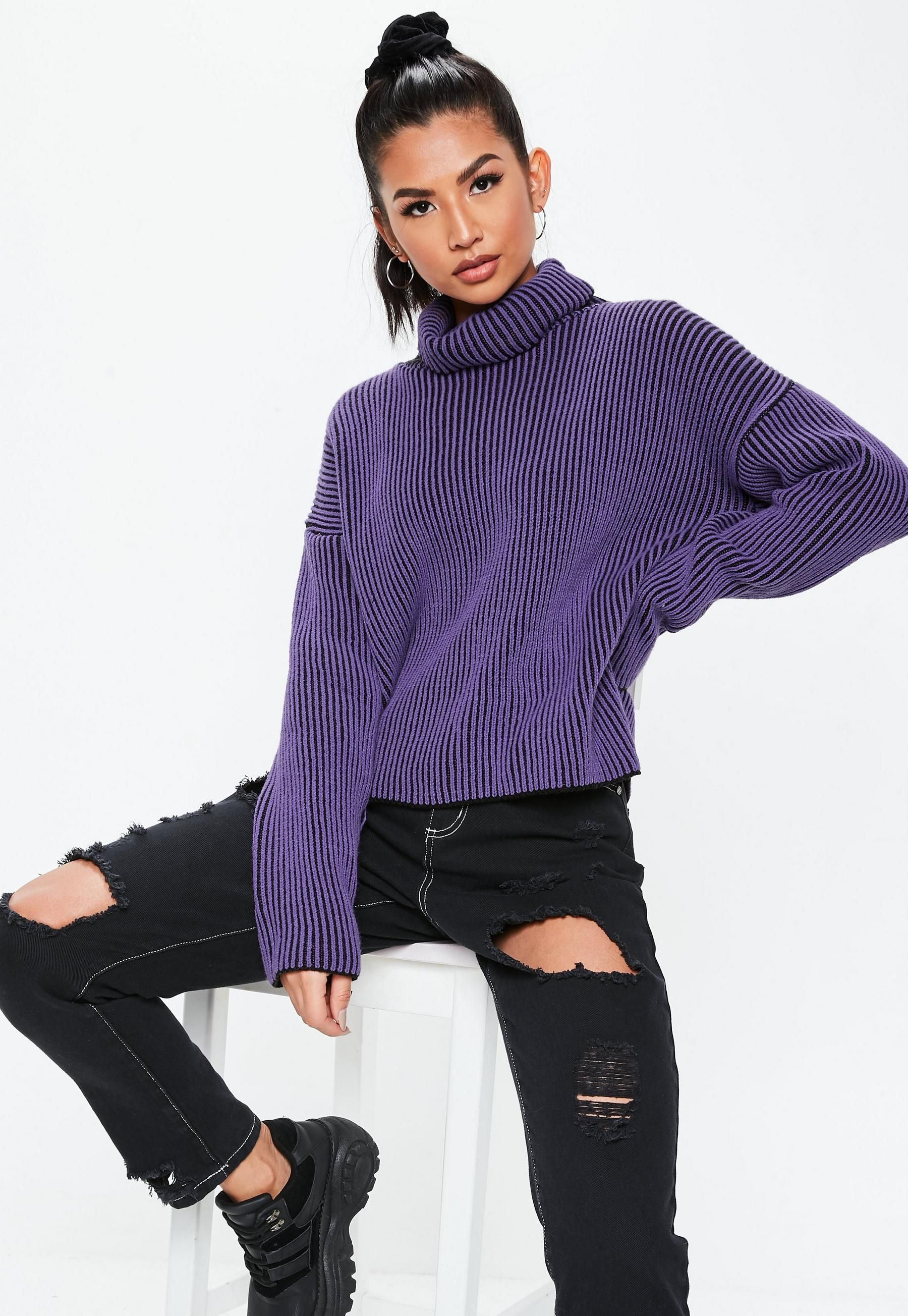 7fa90275514 Missguided - Purple Ribbed Roll Neck Knitted Jumper in 2019 ...
