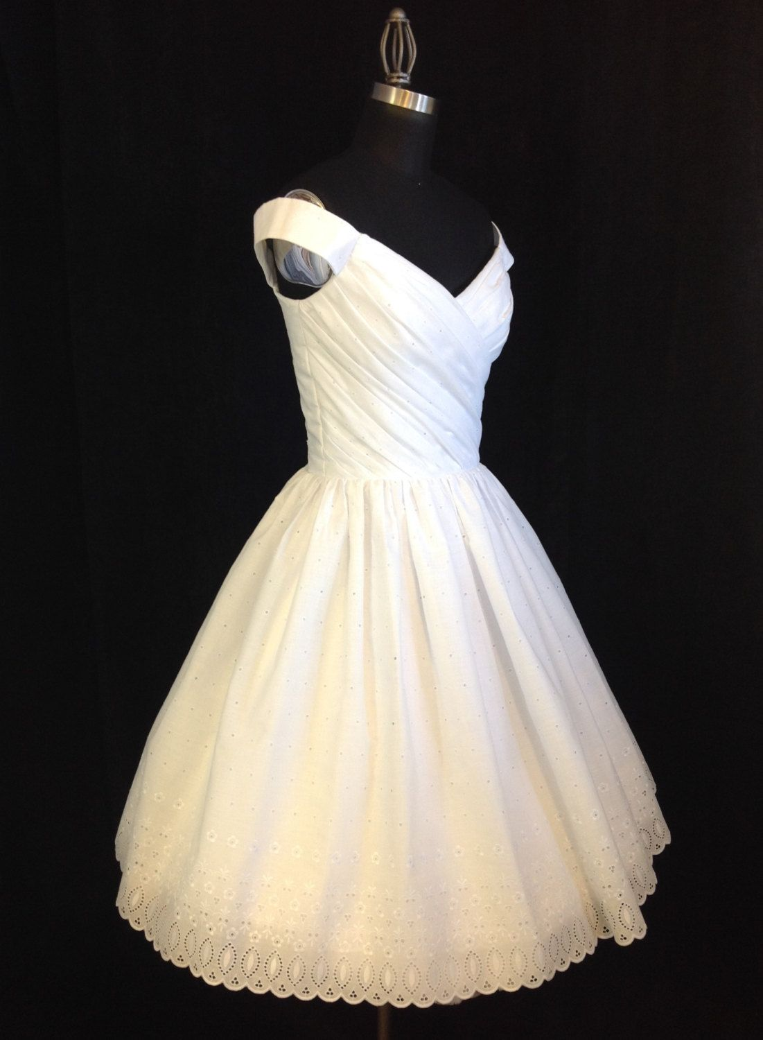 Short Wedding Dress, Off Shoulder, Cotton Eyelet, FLIR-TINI, Tea ...