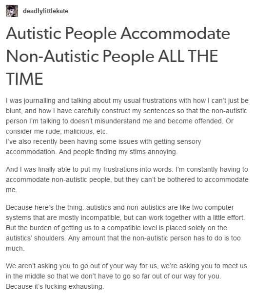 Autistic People Accomodate Non-Autistic People ALL THE TIME - victim impact statement