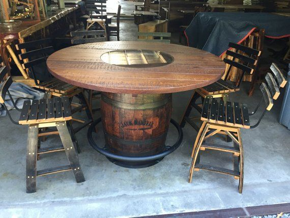 Whiskey Barrel Table And 6 Stools In 2019 Products