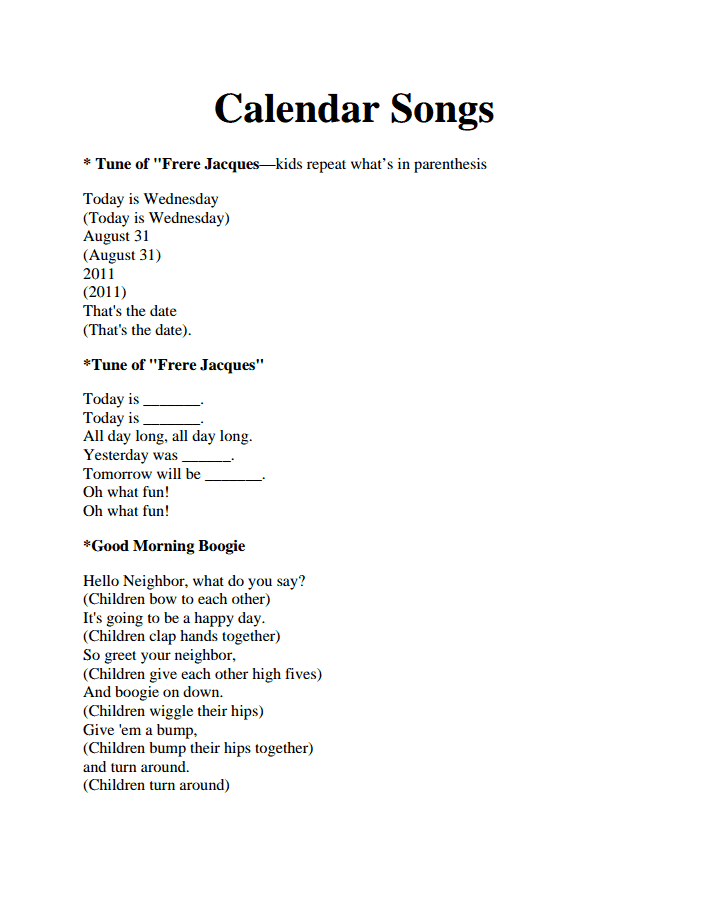 Calendar Songs Pdf Kindergarten Songs Classroom Songs Calendar