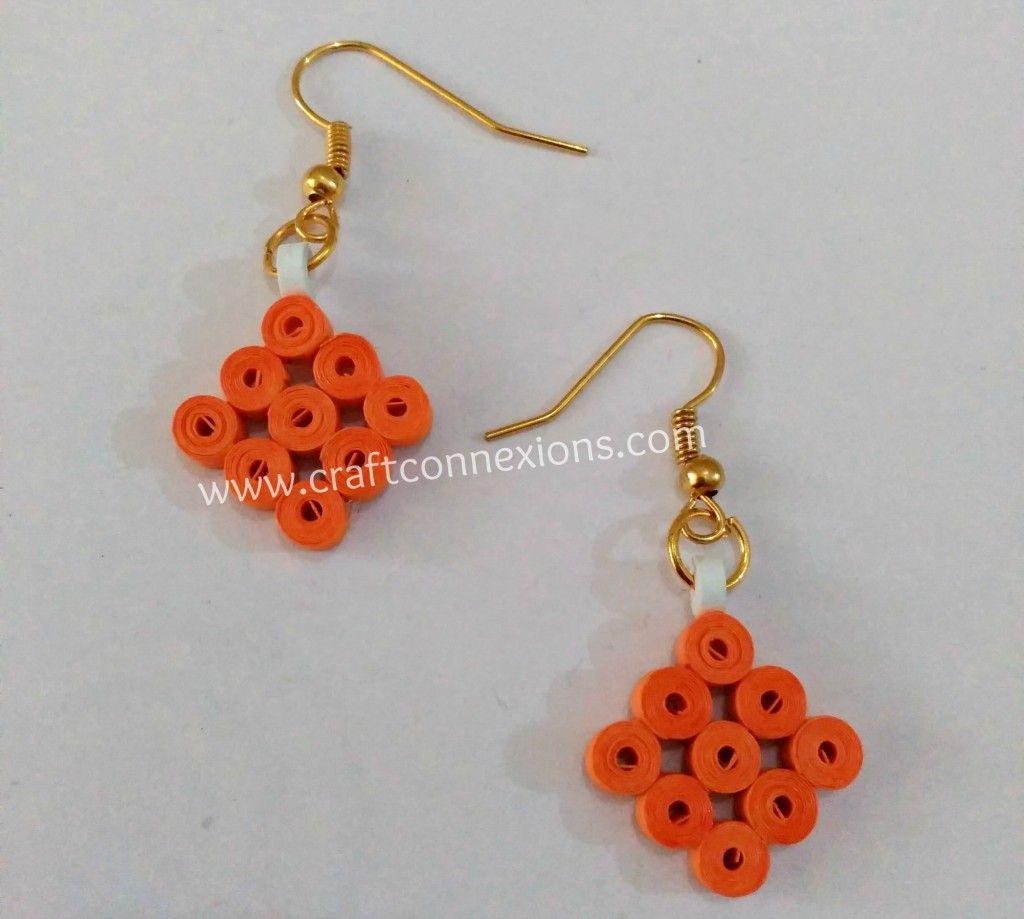 Handmade Earrings making Tutorial – Orange colored paper quilling ...