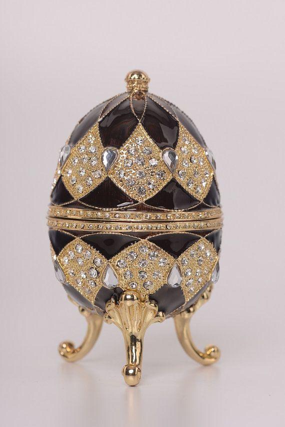 brown faberge egg with egg pendant inside handmade trinket box by rh pinterest com