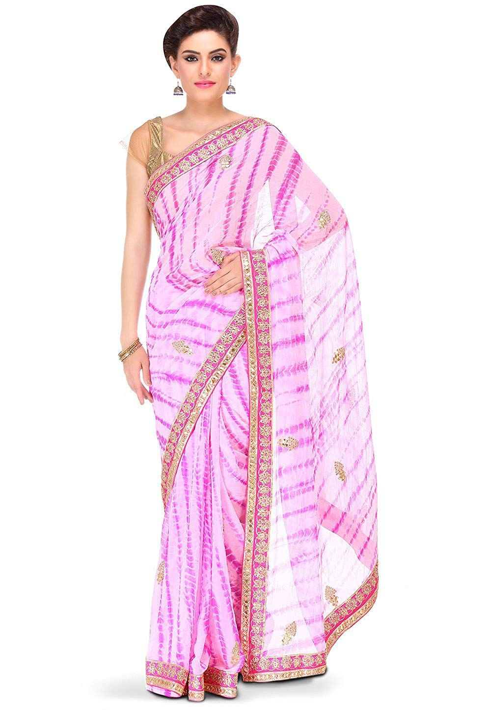 7880d2e8c8 Rajasthani Look Women's Embroidered Georgette Saree in Pink: Amazon.in:  Clothing & Accessories. Find this Pin and more on Saree by Indian fashion.