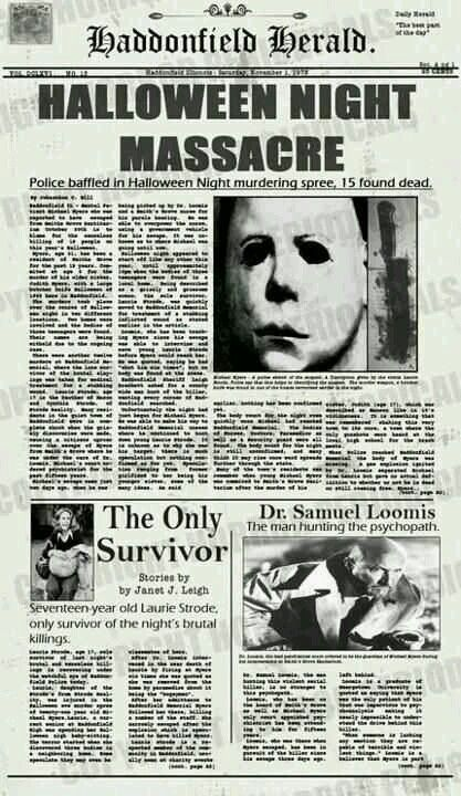 Haddonfield Hearld. Halloween Night Massacre.