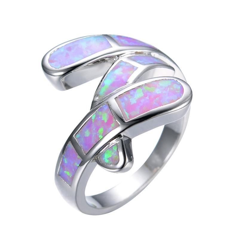 Pink 925 Sterling Silver Opal Summer Ring
