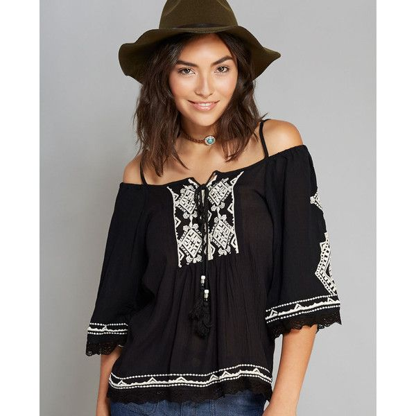 Angie™ Open-Shoulder Top ($27) ❤ liked on Polyvore featuring tops, black, cut-out tops, black cut out top, cutout top, black scoop neck top and summer tops
