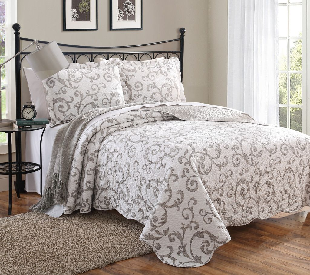3 Piece Queen Loral Taupe Scroll Quilt Set