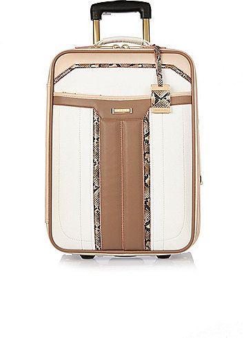 3492436c9d River Island Womens White panelled wheelie suitcase