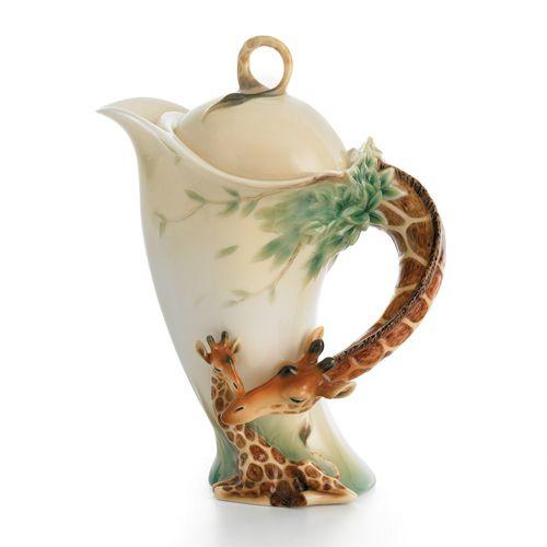 """""""Endless Beauty"""" giraffe design sculptured porcelain teapot"""