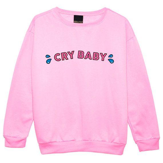 cry baby sweater jumper womens ladies sweatshirt tumblr slogan kawaii fun pink cotton soft. Black Bedroom Furniture Sets. Home Design Ideas