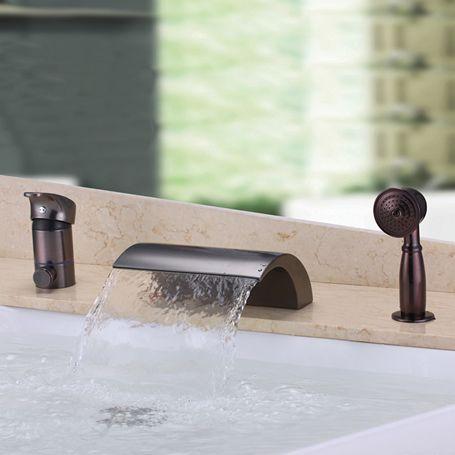 Cascade Conception Antique Bronze Huilé Robinet De Baignoire Avec - Robinet de baignoire avec douchette