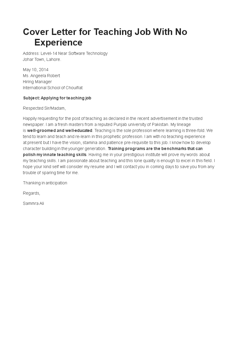 How To Write A Teacher Without Experience Job Application Letter Download This In 2021 Application Letter For Teacher Job Application Letter Template Job Cover Letter