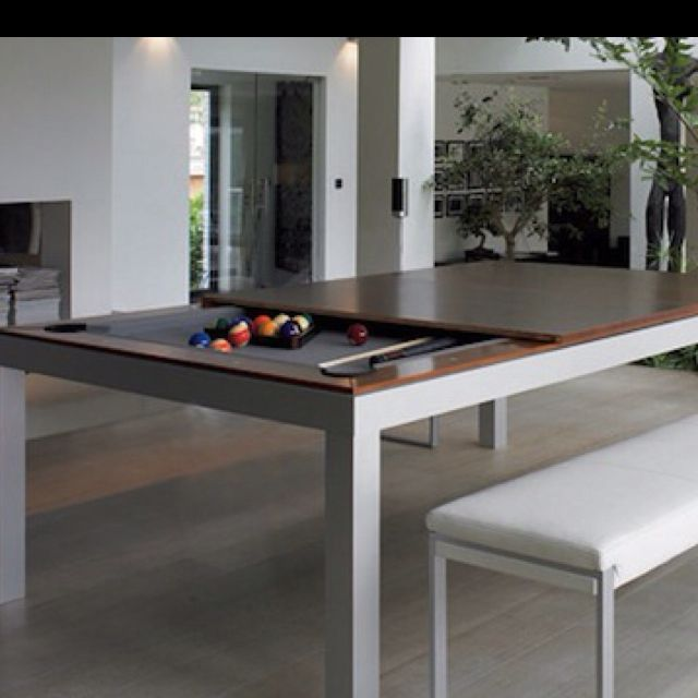 Modern Dining Table With A Hidden Convertible Pool Table