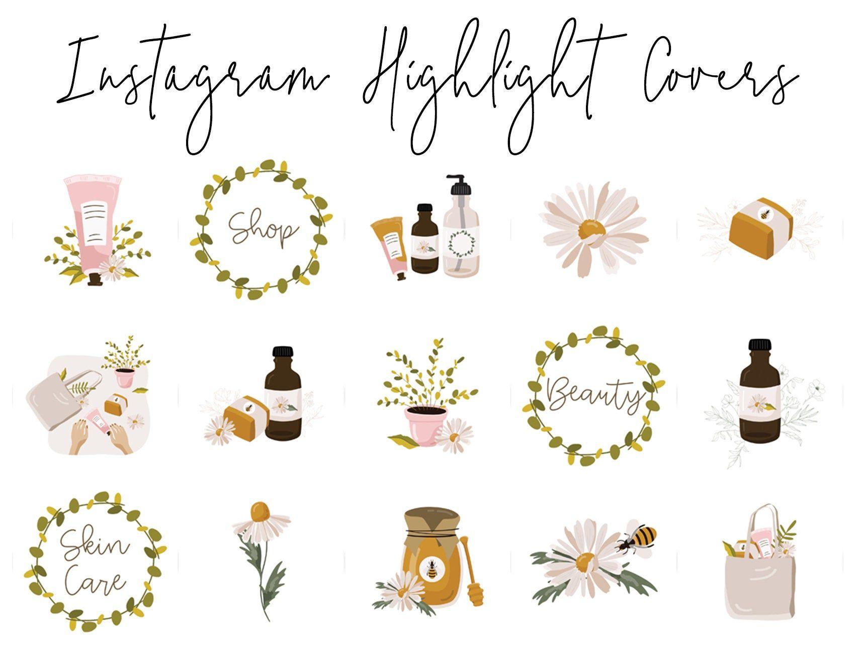 Instagram Story Highlight Icons 16 Botanical Beauty Skincare Covers Instagram Highlight Covers Social Media Icons Blog Branding Kit Blog Branding Kit Blog Branding Branding Kit