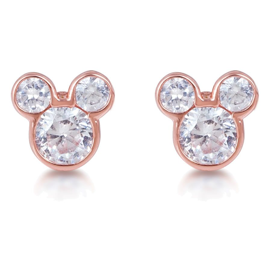 Mickey Mouse Earrings By Disney Couture Tiny Rose Gold Plated Mickey Mouse  Silhouette Studs With