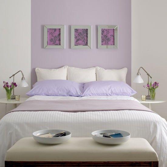 lila wanddeko schlafzimmer einrichten in fliederfarbe - wanddeko für schlafzimmer