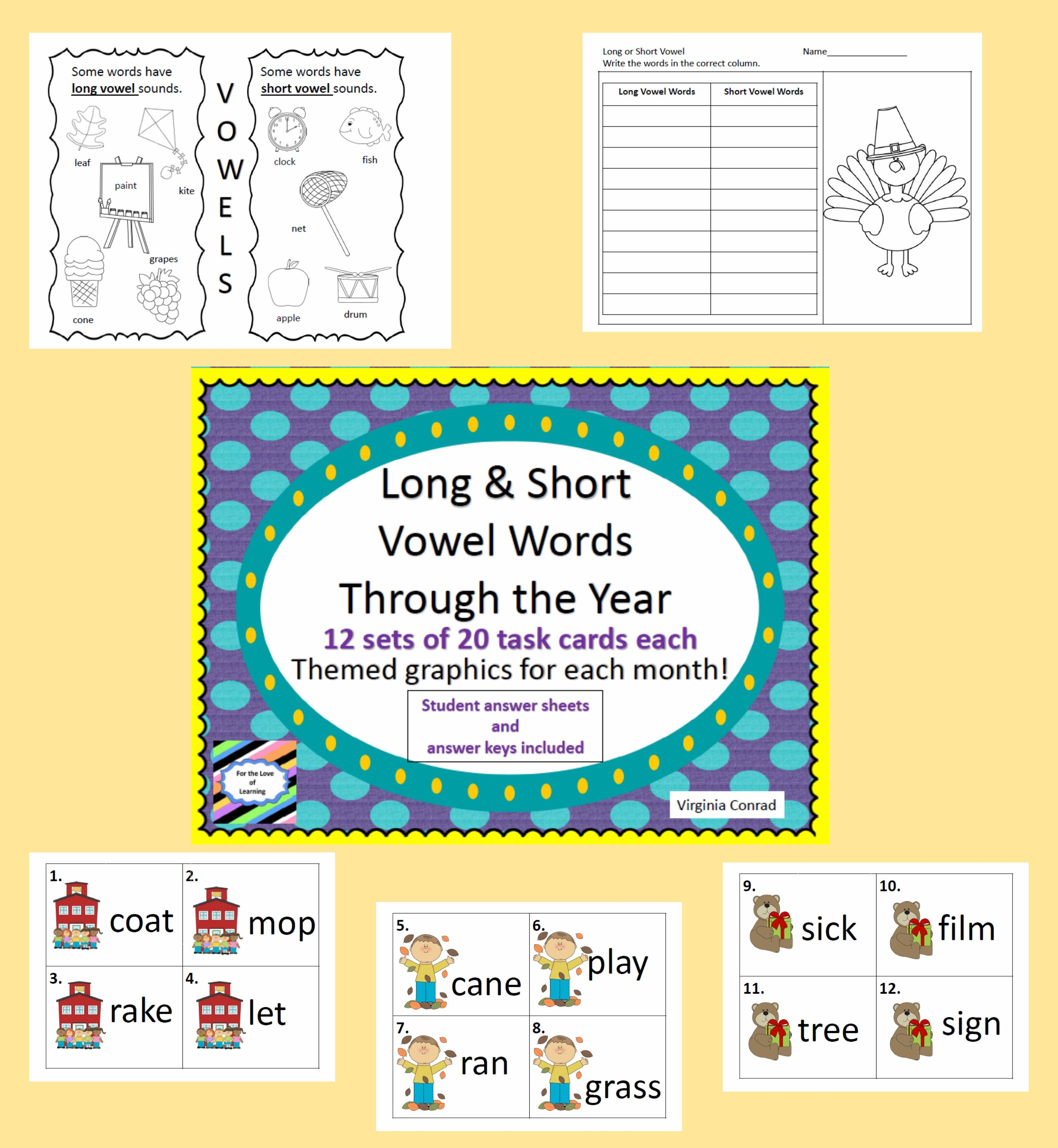 Long And Short Vowel Task Cards 12 Sets Of 20 Cards Each