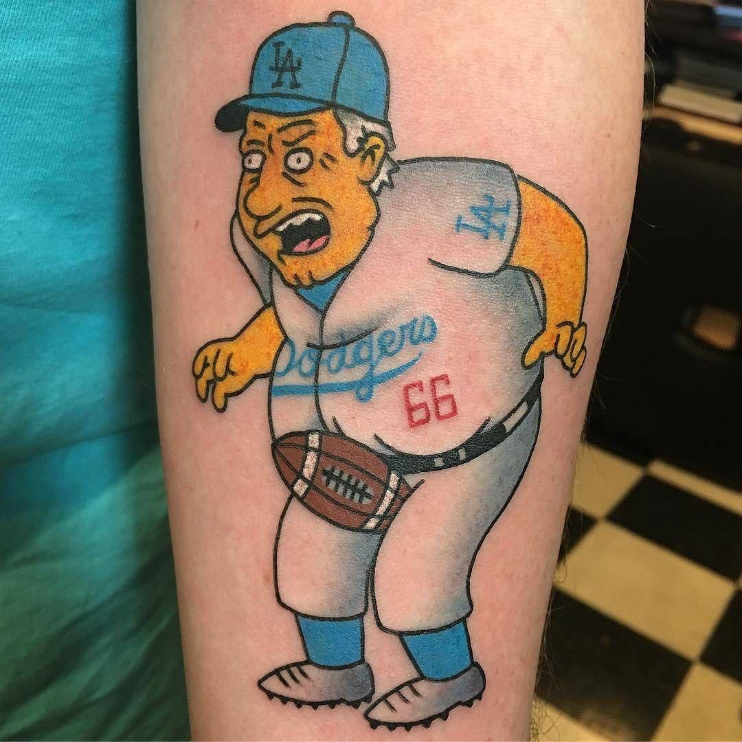 Tommy lasorda simpsons tattoo by rukus tattoo at black for Brooklyn tattoo ideas